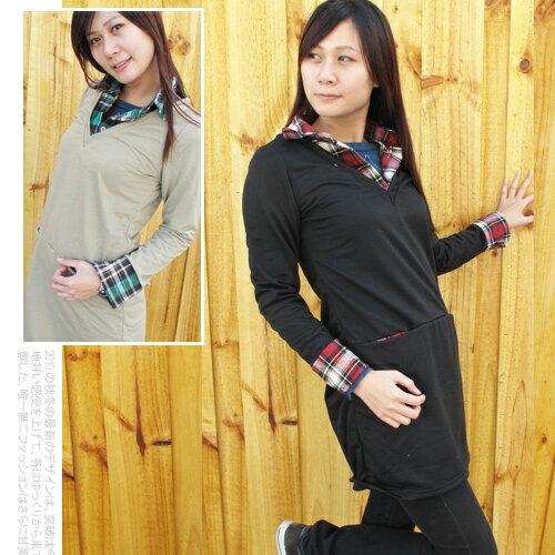 日系V領前插袋格紋假兩件襯衫棉T.流行女裝 - 限時優惠好康折扣