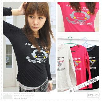 ☆雜誌款趣味猴子個性棉質長T恤.流行女裝.長袖T恤