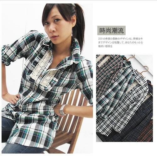 立領多色交叉格紋反摺袖長版襯衫式上衣‧5色.流行女裝 - 限時優惠好康折扣