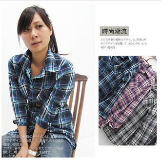 點綴綺想‧ 蘇格蘭格紋反摺袖長版襯衫式上衣‧4色.流行女裝
