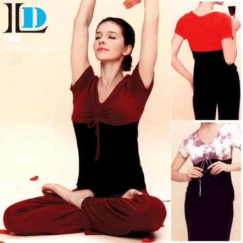 【DENLUS】V領拼布拉繩瑜珈運動套裝(DL242上衣+DL836褲子)瑜珈服.運動服