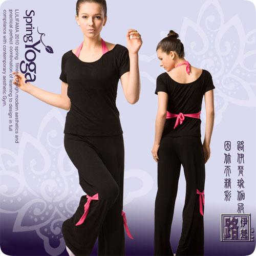 【LuliFama】 假兩件式瑜珈韻律運動服套裝.運動.有氧.韻律.瑜珈  C245-5313