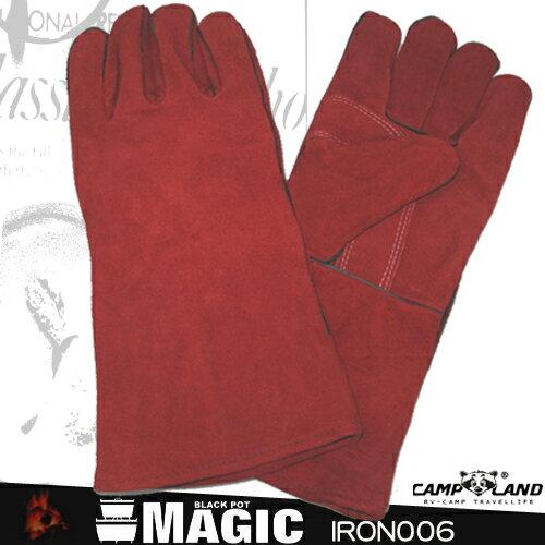 14吋防燙牛皮手套(剩2.黑色款)(防燙手套.隔熱手套.登山露營用品.皮革手套)