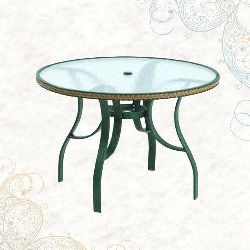 102cm扁管編籐桌(公園桌.庭院桌.庭園桌.休閒玻璃桌.庭院傢俱.便宜) - 限時優惠好康折扣