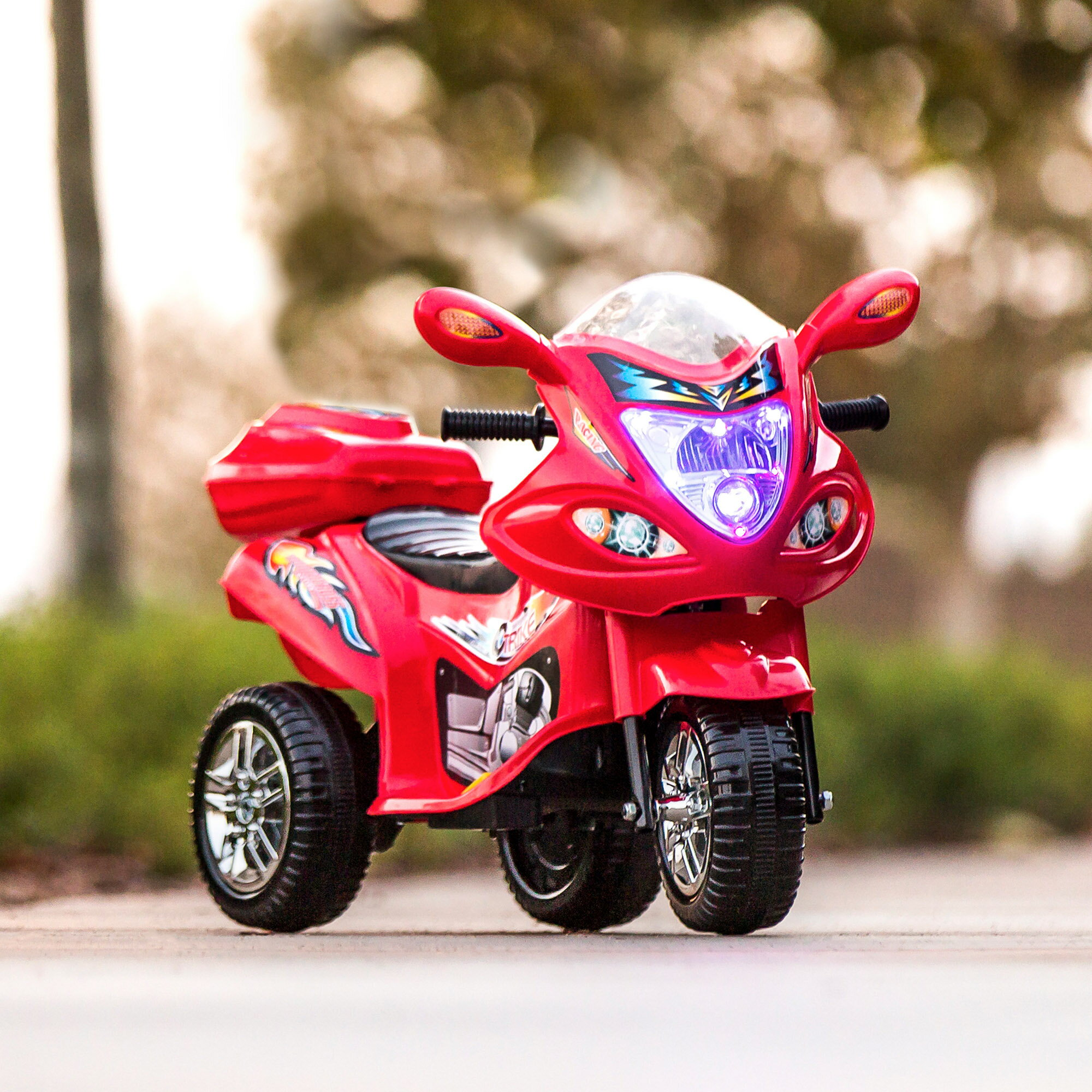 Best Choice Products 6V Kids Battery Powered 3-Wheel Motorcycle Ride-On Toy w/ LED Lights, Music, Horn, Storage - Red 1