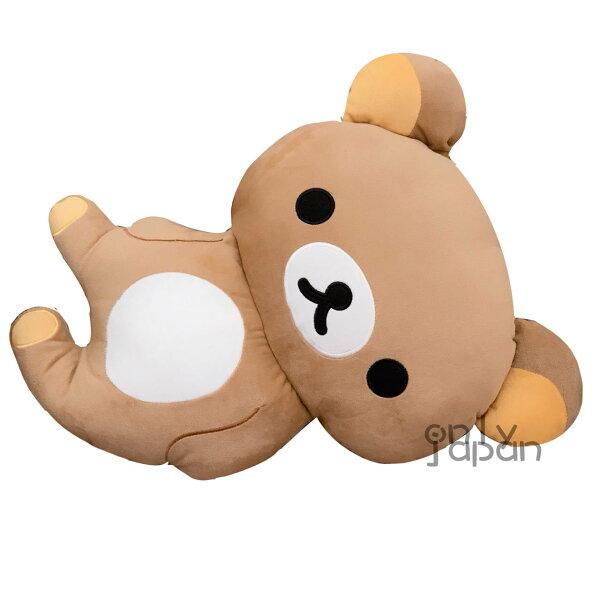 真愛日本:【真愛日本】17122900016造型抱枕-18吋側身懶熊SAN-X懶熊拉拉熊娃娃抱枕日用品擺設收藏