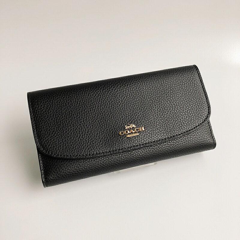 美國百分百【全新真品】COACH 女款 皮夾 長夾 錢包 真皮 皮包 手拿包 票卡夾 證件夾 護照夾 黑色 AA67