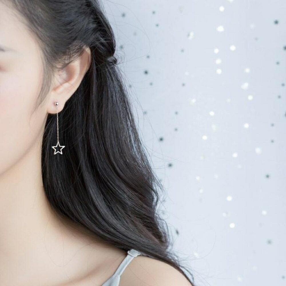 免運 愛洛奇 s925銀星星耳環女韓版小清新鏤空五角星可愛短款耳墜飾品