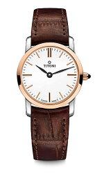 TITONI瑞士梅花錶纖薄系列TQ42918SRG-ST-583簡約金屬時尚腕錶/玫瑰金24mm