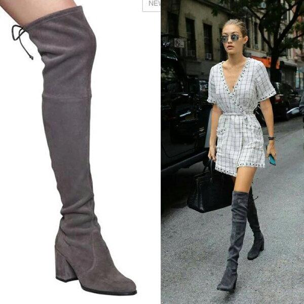 Stacey Boutique:秋冬新款過膝靴子女粗跟磨砂加絨長筒中跟彈力布騎士靴顯瘦