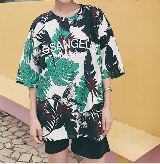 FINDSENSE H1 2018 韓國 夏季 清新 百搭 樹葉印花 女 T恤 原宿寬松 短袖 圓領 半袖上衣 潮