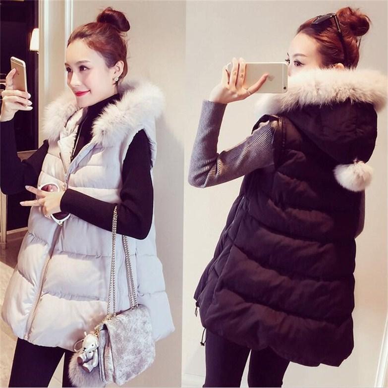 PS Mall 冬裝外套棉衣中長款超大尺寸馬甲連帽外套~T4302~ ~  好康折扣