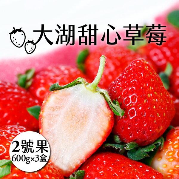 myselect:【好實選果】【3盒】大湖甜心草莓2號果(600g盒)(免運)