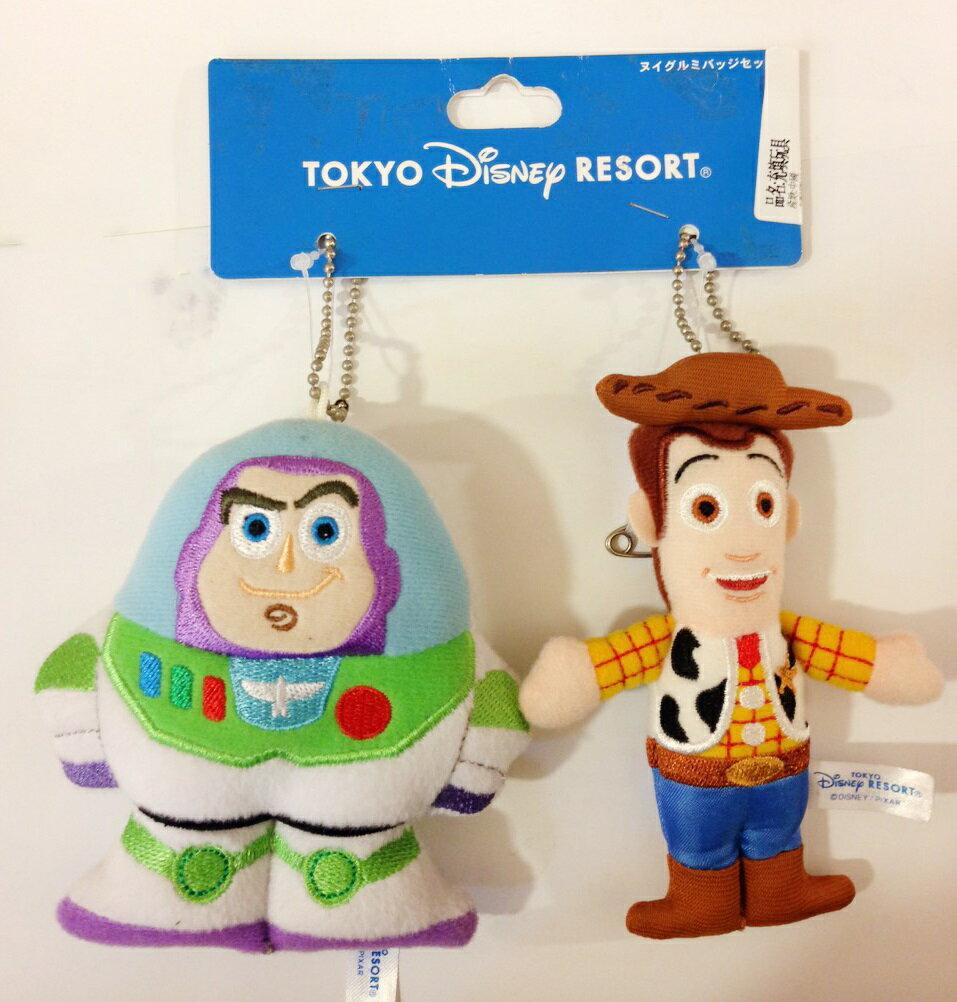【真愛日本】15090900058 樂園限定娃2入鎖圈-巴斯胡迪 玩具總動員 吊飾 鑰匙圈 迪士尼帶回