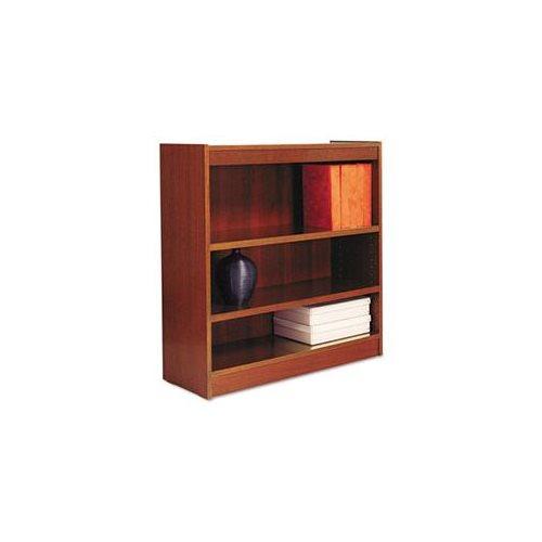 Alera Square Corner Wood Bookcase, Three-Shelf, 35-5/8 x 11-3/4 x 36, Medium Cherry 0