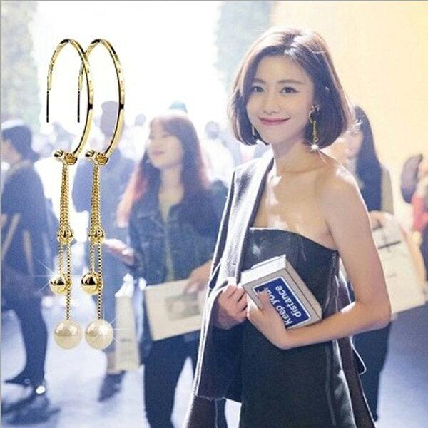 糖衣子輕鬆購【DZ0251】韓國時尚設計誇張氣質珍珠流蘇鍊條耳環耳針飾品-三種戴法