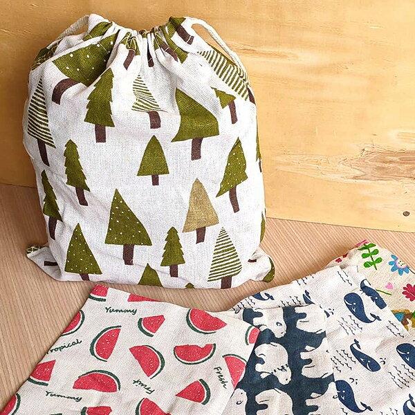 日系彩繪束口袋-大 萬用抽繩收納袋 手提棉麻布收納袋 飾品手機眼鏡袋