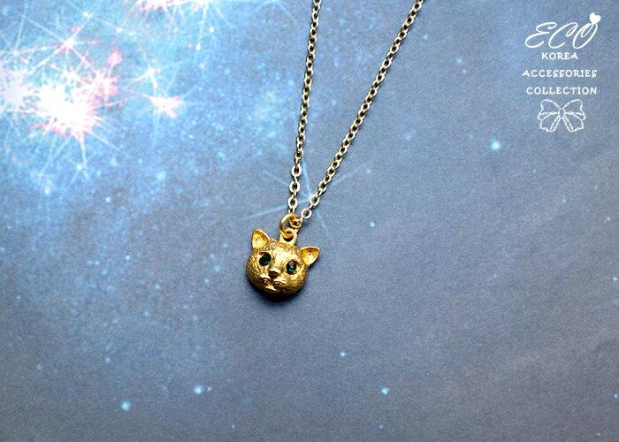 立體貓頭,綠寶石項鍊,貓咪項鍊,短項鍊,鎖骨項鍊,韓貨,韓製,項鍊