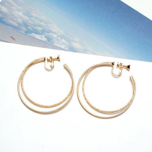 (預購)ECO安珂.時尚大方雙大圈 夾式耳環(螺旋夾/2色)【2-1534】