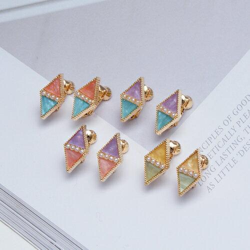 ECO安珂.俐落雙色綴鑽菱形 夾式耳環 7色  螺旋夾 ~2~1584~