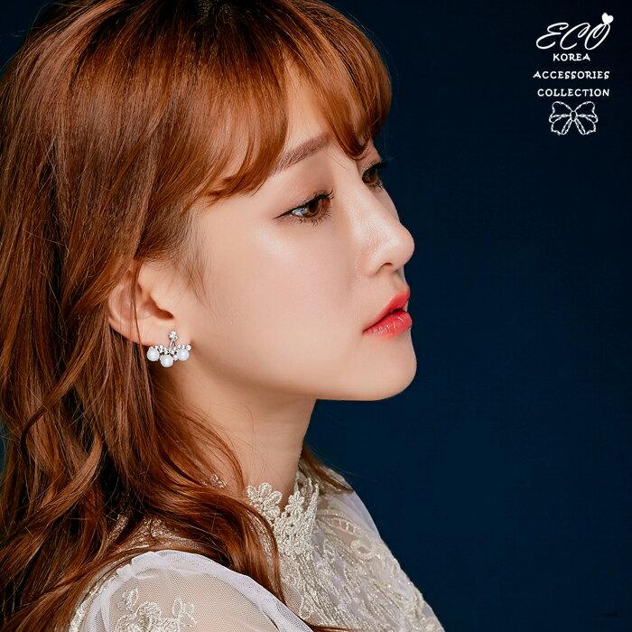 華麗,珍珠,鑽,夾式耳環,無耳洞耳環,韓製,韓國,耳環