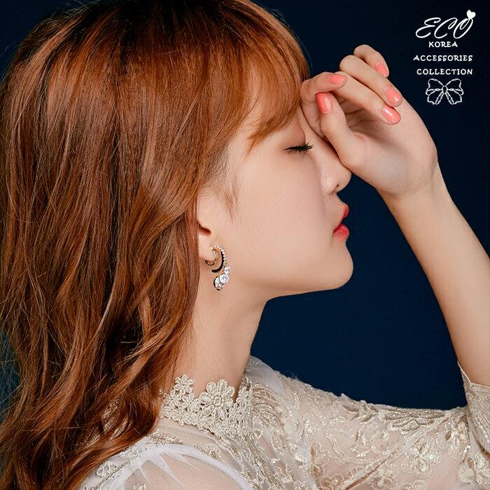 C圈,垂墜,鑽,夾式耳環,無耳洞耳環,韓製,韓國,耳環