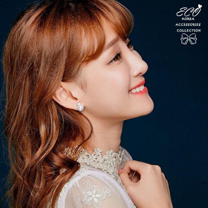 圓鑽耳環,珍珠耳環,夾式耳環,無耳洞耳環,韓製,韓國耳環,耳夾,貼耳耳環,婚禮耳環,婚宴耳環