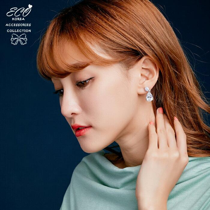 鋯石耳環,寶石耳環,夾式耳環,無耳洞耳環,耳夾,韓國耳環,垂墜耳環,婚禮耳環,婚宴耳環,Eco安珂飾品