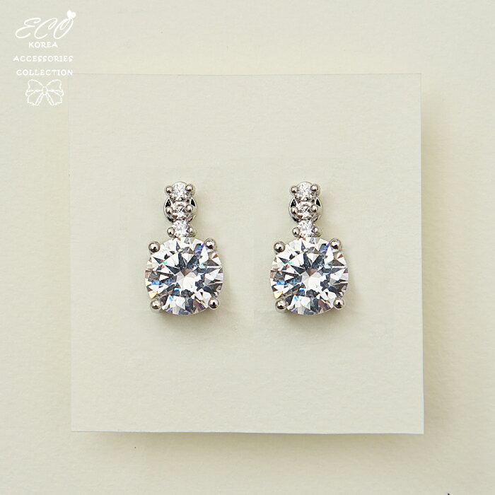 單顆大鑽石,夾式耳環,無耳洞耳環,韓製,韓國,耳環