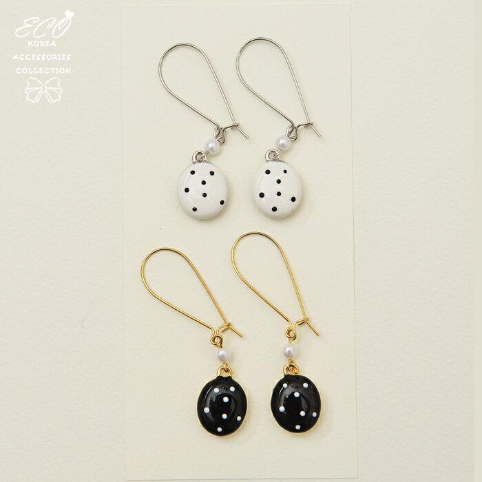 釉彩,圓形,點點,垂墜,夾式耳環,無耳洞耳環,韓製,韓國,耳環