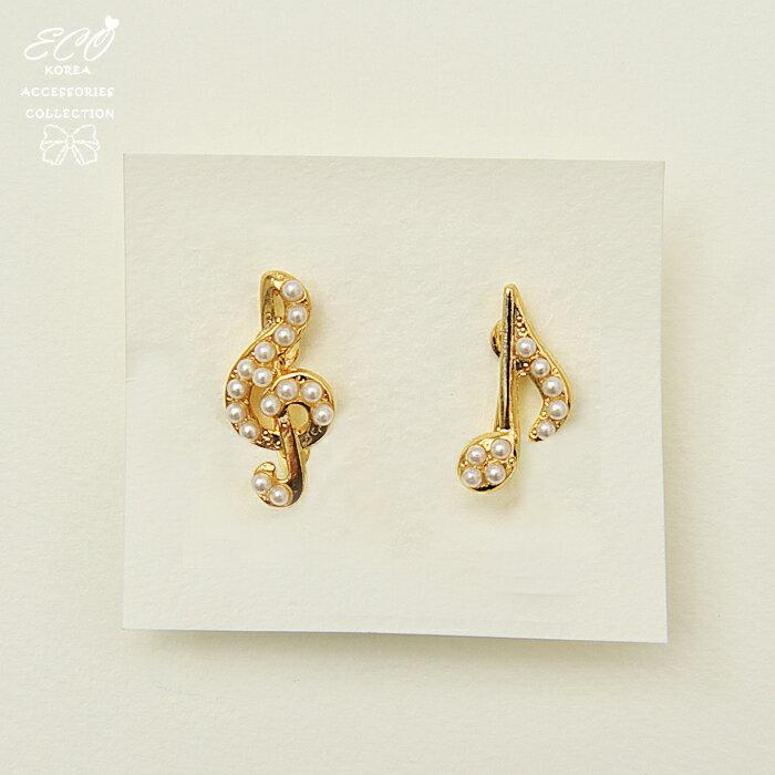 音符,音樂,珍珠,可愛,夾式耳環,無耳洞耳環,韓製,韓國,耳環