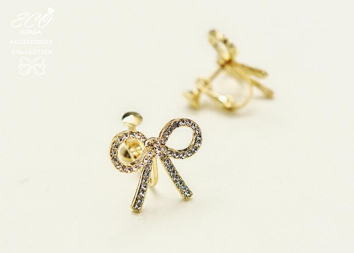 蝴蝶結夾式耳環,夾式耳環,無耳洞耳環,螺旋夾耳環