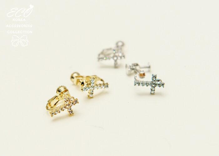 十字架,簡約,鑽,夾式耳環,無耳洞耳環,韓製,韓國,耳環