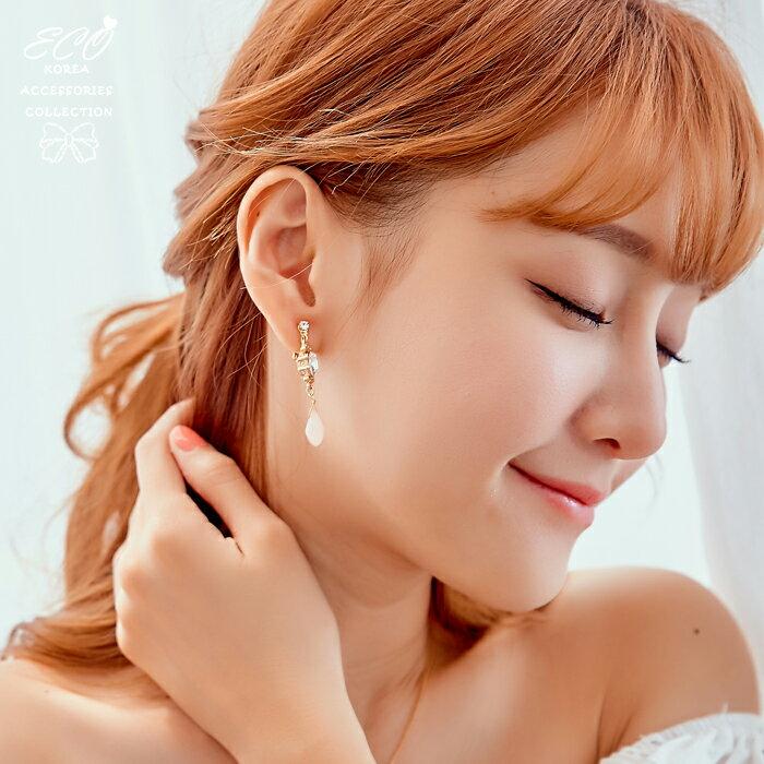 垂墜夾式耳環,夾式耳環,無耳洞耳環,韓製,韓國,耳環