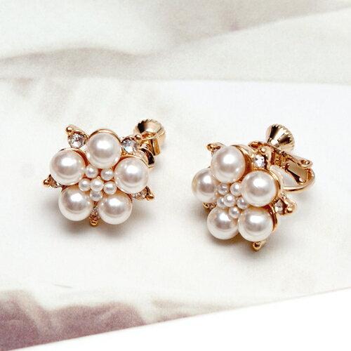 ECO安珂.珍珠花牌情緣 夾式耳環