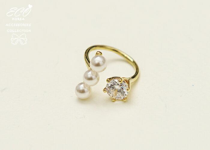 珍珠戒指,流線v型,戒指