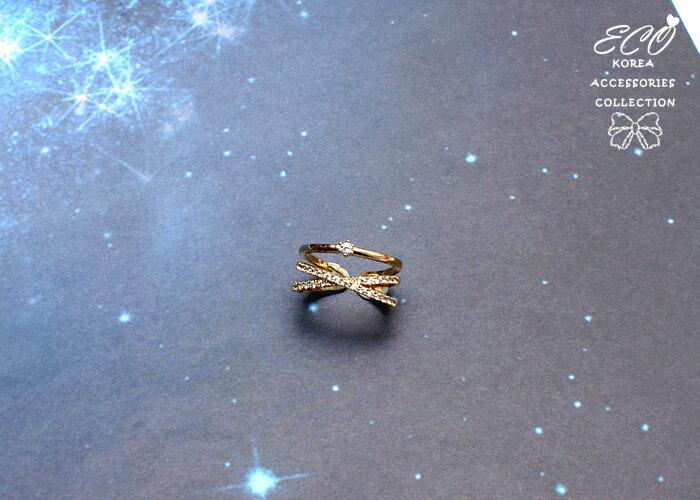 流線v型戒指,個性戒指,韓國戒指,交叉造型,戒指,簡約,排鑽戒指