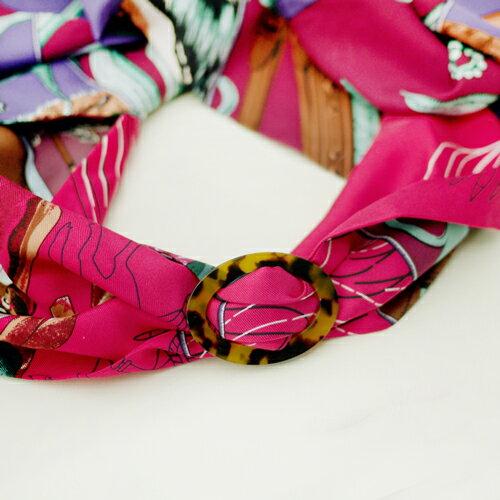 (預購+現貨)ECO安珂.中性風格琥珀玳瑁圓邊日字釦 絲巾釦/絲巾環【5-252】