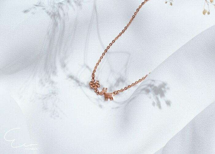 麋鹿,雪花,鎖骨項鍊,項鍊,韓貨,韓製,項鍊