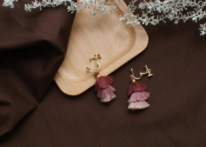 流蘇夾式耳環,修飾臉頰耳環,夾式耳環,無耳洞耳環,韓製,韓國,耳環
