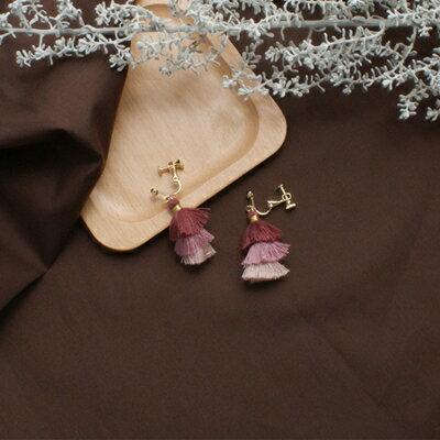 (現貨預購)ECO安珂.裙襬搖搖層次流蘇針式夾式耳環(螺旋夾2色)【2-17019】