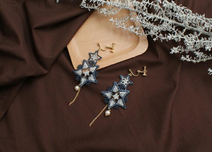 星星垂墜耳環,龐克夾式耳環,聖誕節夾式耳環,交換禮物耳環,夾式耳環,無耳洞耳環,韓製,韓國,耳環