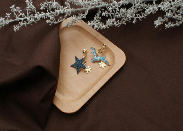 麋鹿夾式耳環,聖誕節夾式耳環,交換禮物耳環,夾式耳環,無耳洞耳環,韓製,韓國,耳環