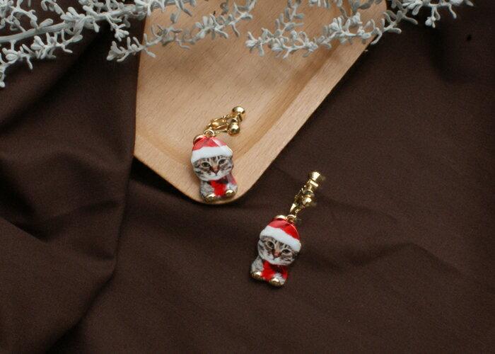 貓咪夾式耳環,聖誕節夾式耳環,交換禮物耳環,夾式耳環,無耳洞耳環,韓製,韓國,耳環