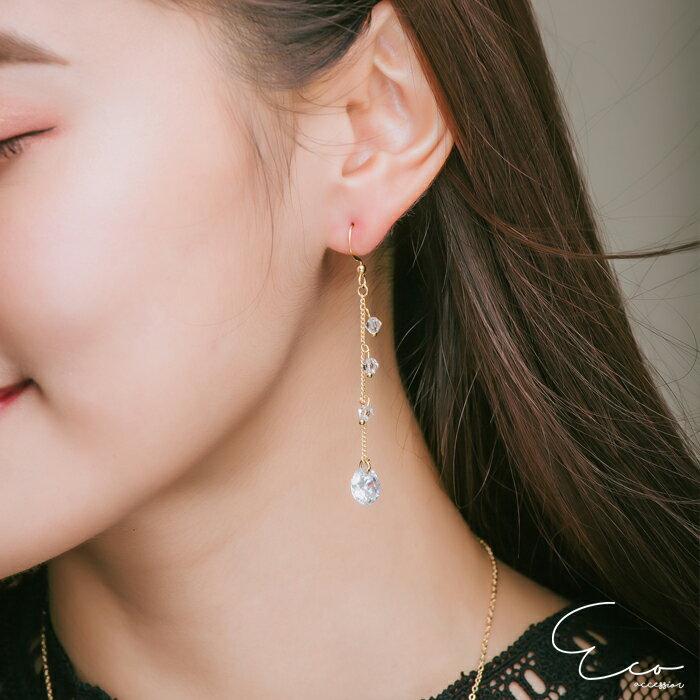 鑽,垂墜夾式耳環,無耳洞耳環,韓製,韓國,耳環