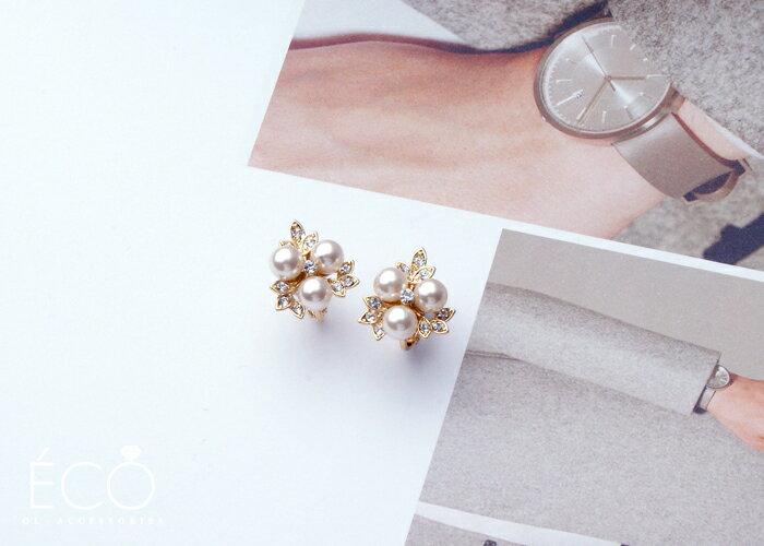 葉子,珍珠,鑽,婚宴夾式耳環,伴娘夾式耳環,無耳洞耳環,韓製,韓國,耳環