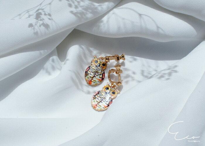 貓頭鷹,夾式耳環,無耳洞耳環,韓製,韓國,耳環