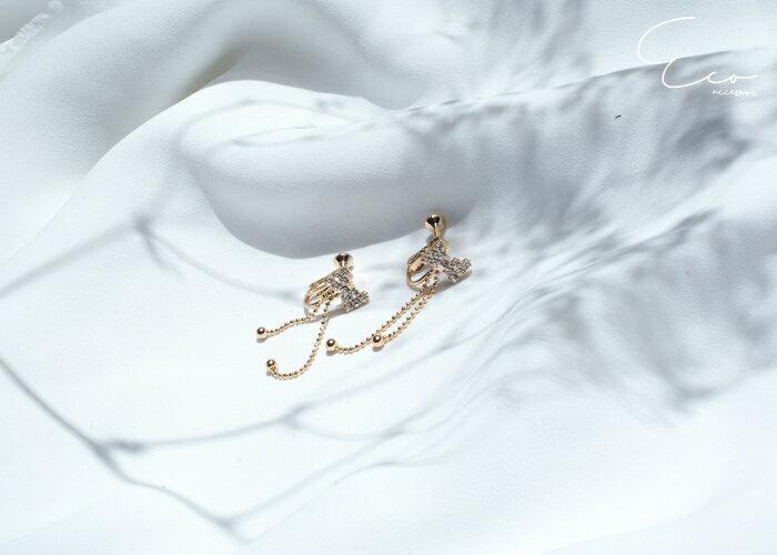 蝴蝶結夾式耳環,婚宴夾式耳環,伴娘夾式耳環,無耳洞耳環,水鑽夾式耳環,韓製,韓國,耳環