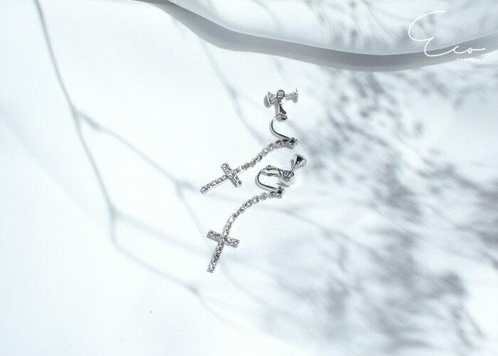 十字架夾式耳環,婚宴夾式耳環,伴娘夾式耳環,無耳洞耳環,夾式耳環,水鑽夾式耳環,韓製,韓國,耳環