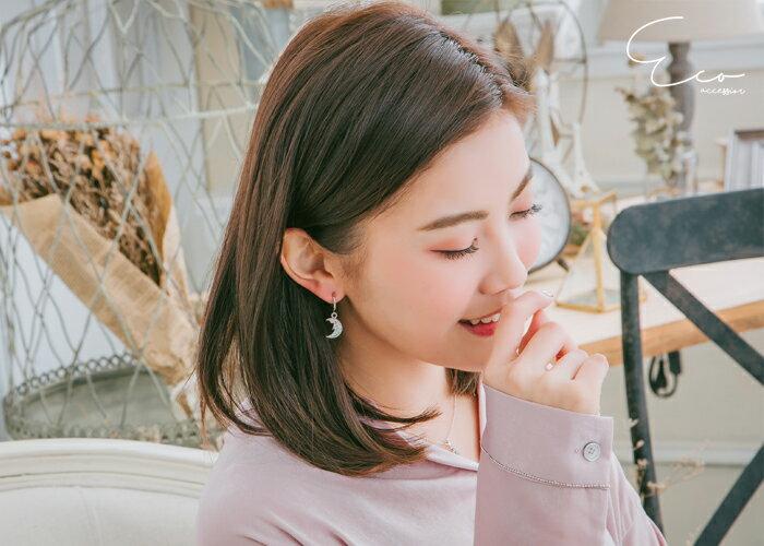 星星夾式耳環,月亮夾式耳環,彩鑽夾式耳環,無耳洞耳環,夾式耳環,韓製,韓國,耳環